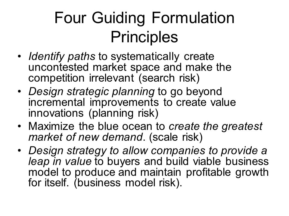 Four Guiding Formulation Principles