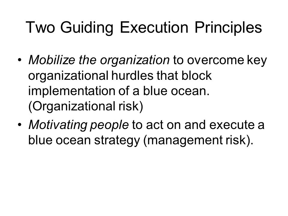 Two Guiding Execution Principles