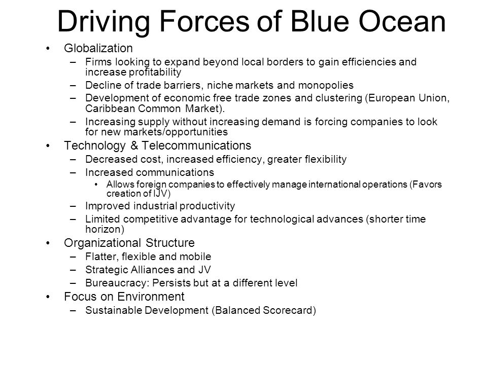 Driving Forces of Blue Ocean