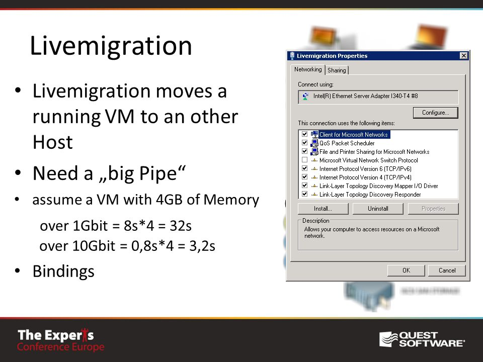 Livemigration Livemigration moves a running VM to an other Host