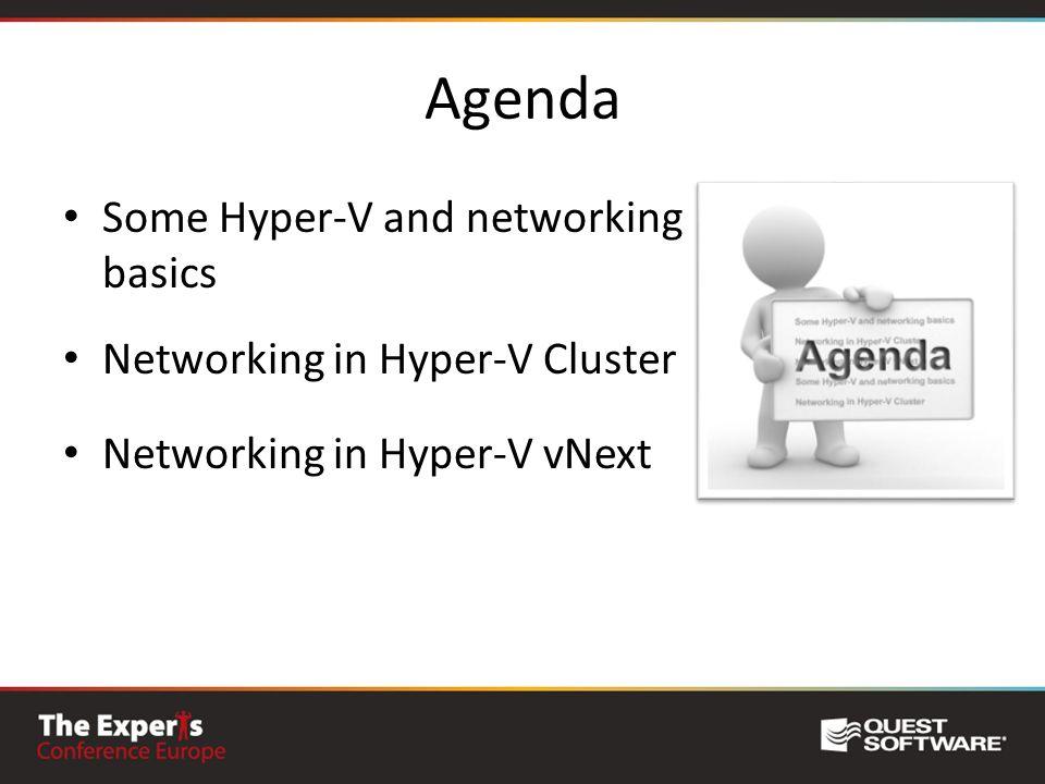 Agenda Some Hyper-V and networking basics