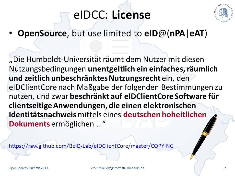 eIDCC: License OpenSource, but use limited to eID@(nPA|eAT)