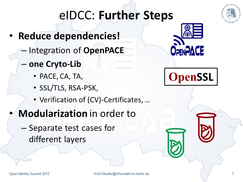 eIDCC: Further Steps OpenSSL Reduce dependencies!