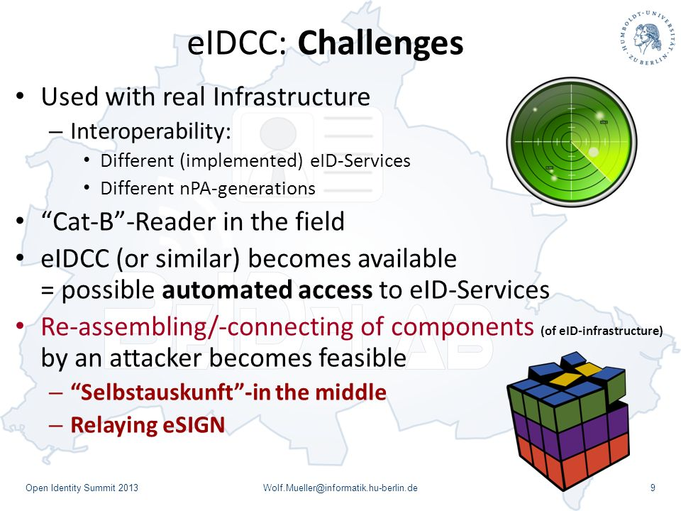 eIDCC: Challenges Used with real Infrastructure