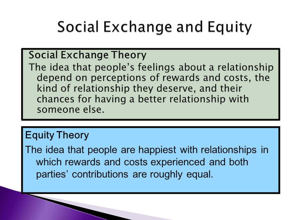 exchange theory is the equity in a relationship