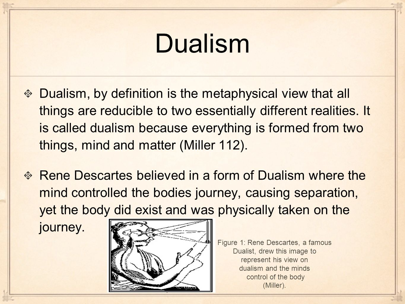 essays mind body dualism The classic presentation of dualism is by descartes he argued that the body is  spatial and in no sense conscious, whilst the mind is non-spatial and is.