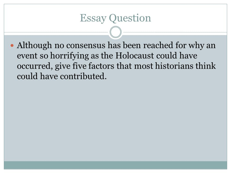 the holocaust essay Thesis statement for holocaust what is holocaust what is holocaust denial different thesis statements on holocaust.