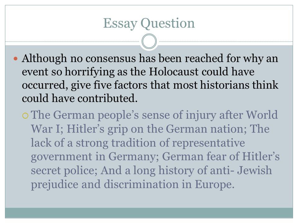 the effects of the holocaust Free essay: causes & effects of the holocaust there are times in history when desperate people plagued by desperate situations blindly give evil men.