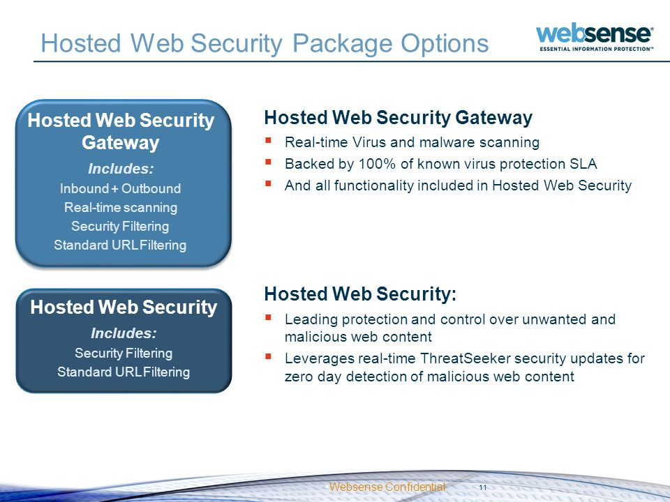 Hosted Web Security Package Options
