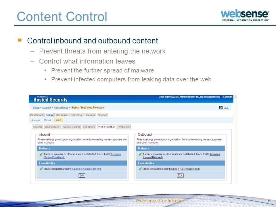 Content Control Control inbound and outbound content