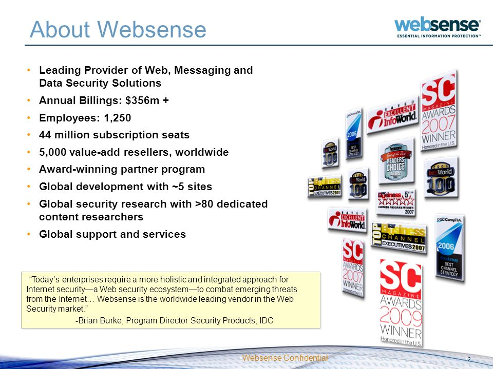 About Websense Leading Provider of Web, Messaging and Data Security Solutions. Annual Billings: $356m +