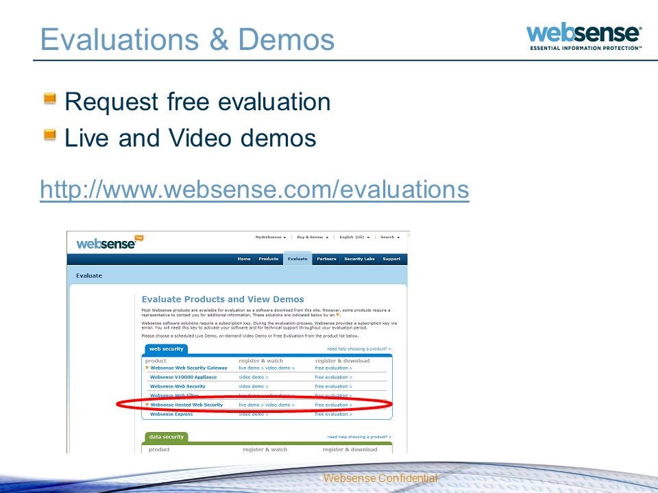 Evaluations & Demos Request free evaluation Live and Video demos
