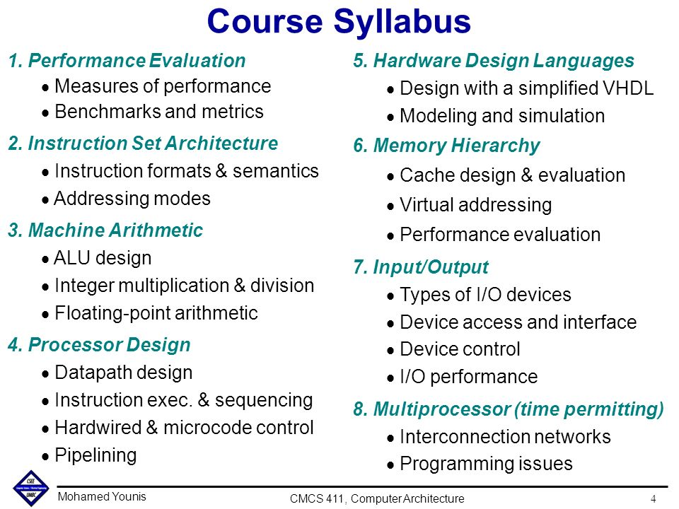 Architecture Design 1 Syllabus cmcs computer architecture lecture 1 introduction and overview