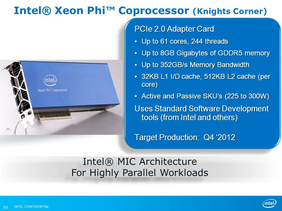 Intel® Xeon Phi™ Coprocessor (Knights Corner)