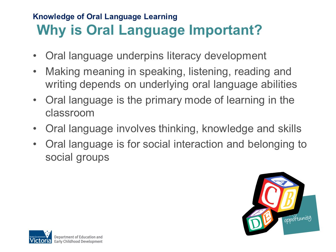 the importance of oral language English language learners require time and support to develop the english-language abilities that are important for literacy teaching oral language teachers can support oral language development by reading aloud daily and creating situations, including storytelling, that give students a purpose for using precise and more complex language.