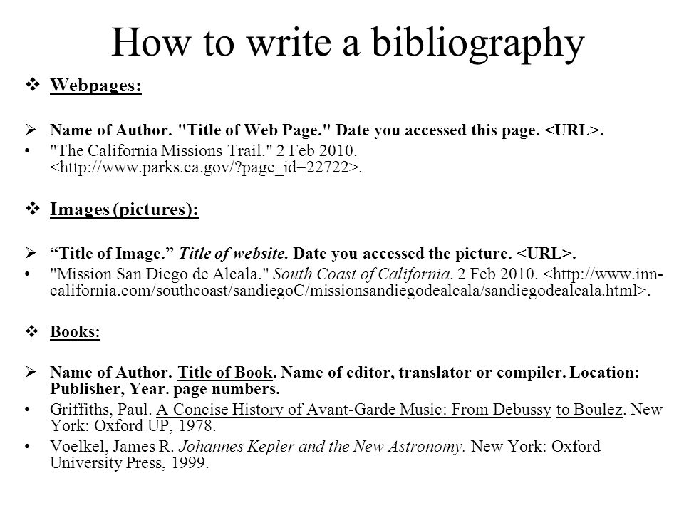 How to write a bibliography of a book
