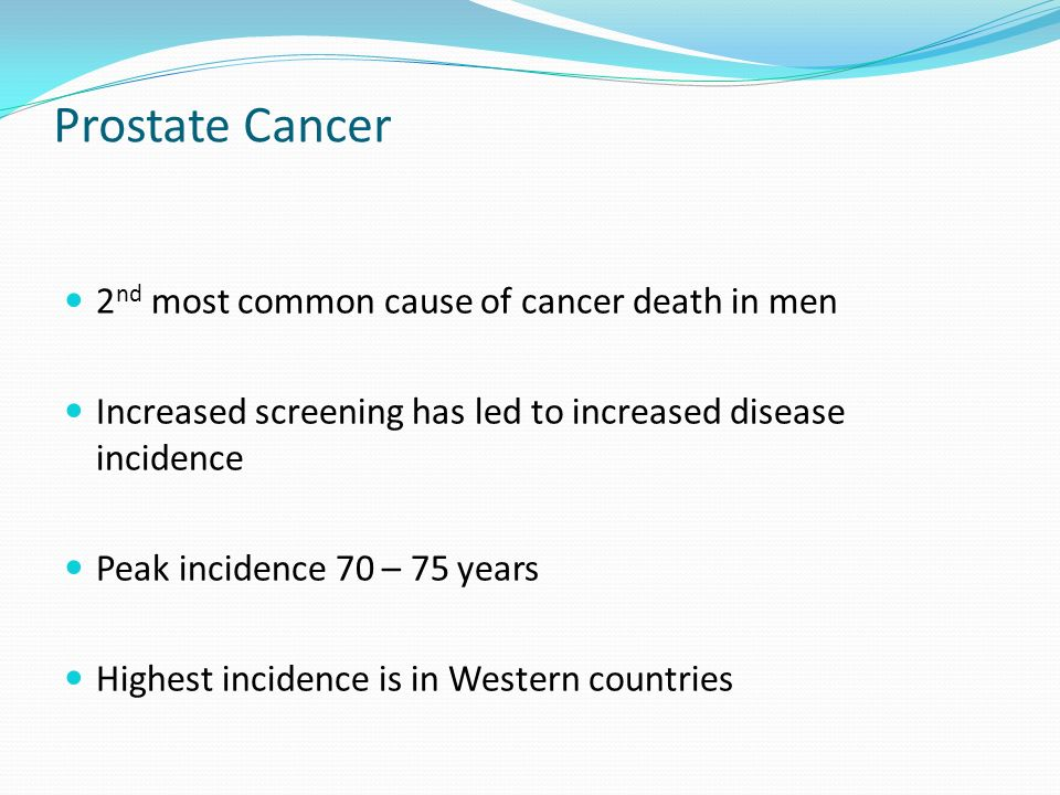 the characteristics of prostate cancer the second most common cause of death in men Prostate cancer is the most common cancer and the second leading cause of  cancer death in men nearly 29,430 men will die needlessly of prostate cancer.