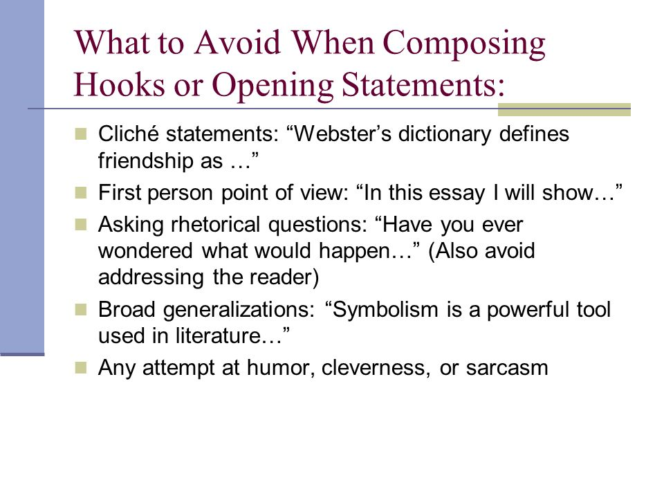 a hook for an essay about friendship Narration, description, exposition, and argument thomas kinsella mirror in february personal response essay essay writing on friendship essay hook perseverance is the key an analysis of the.