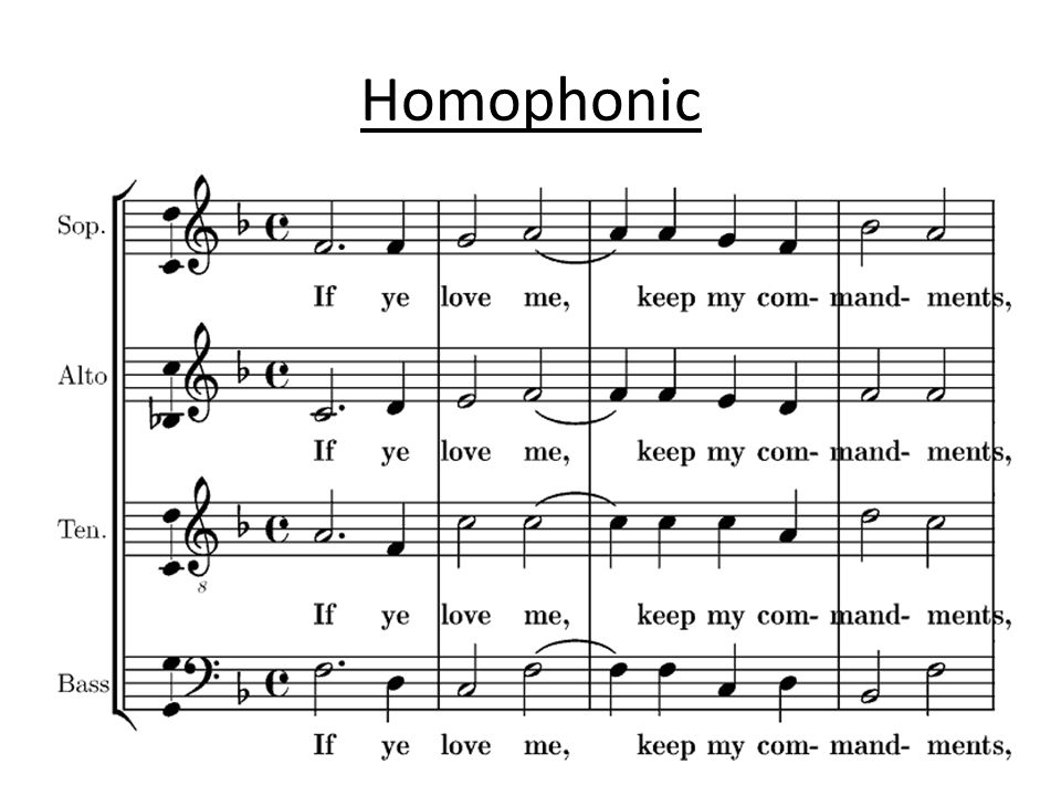 homophonic music 09062018 the difference between homophonic and polyphonic is that polyphony is more complex polyphony produces multiple non-competing layers of music.