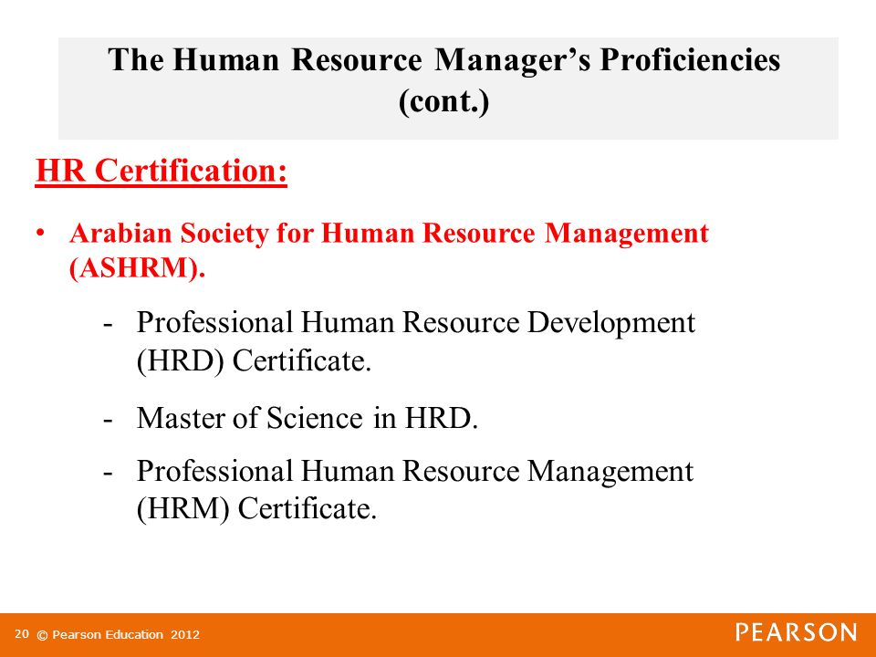 proficiencies of human resources manager The development of human resource management from a of human resources human resource management holds duties as a human resource manager.