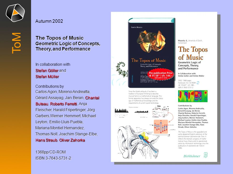 Autumn 2002 The Topos of Music Geometric Logic of Concepts, Theory, and Performance. In collaboration with.