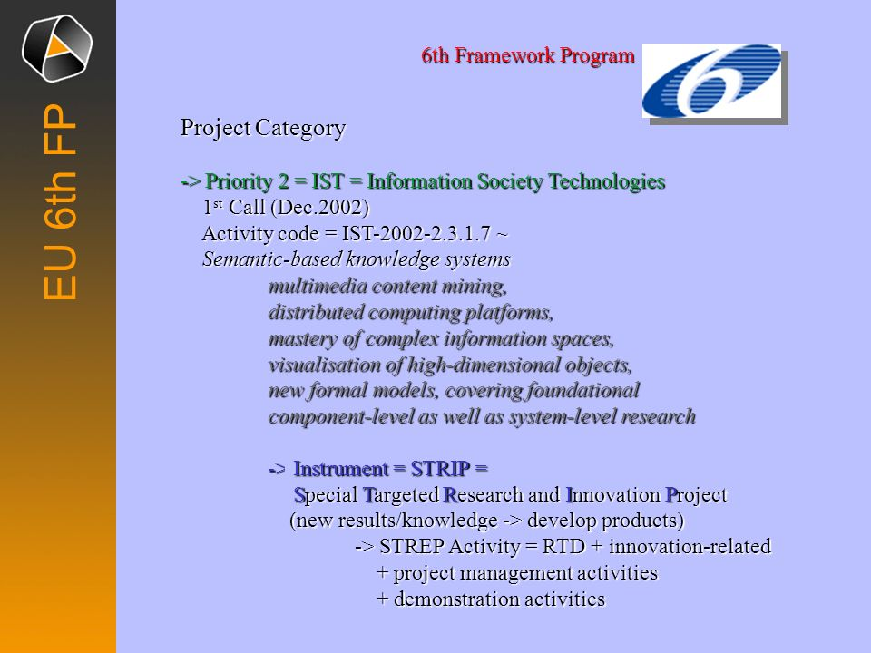 EU 6th FP Project Category 6th Framework Program
