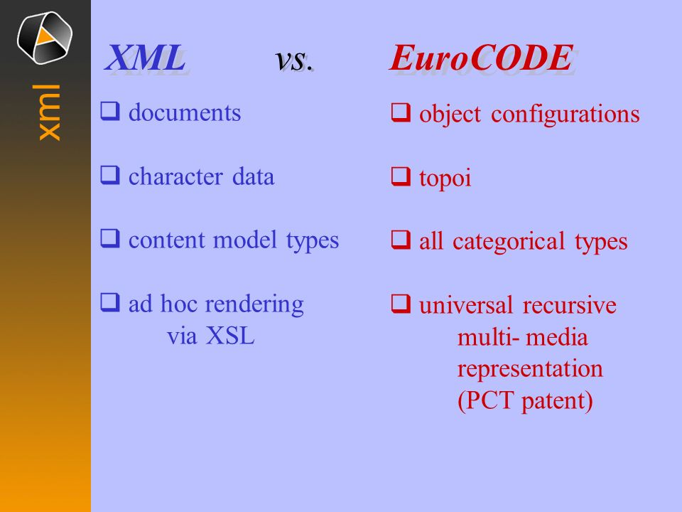 EuroCODE XML vs. xml documents object configurations character data