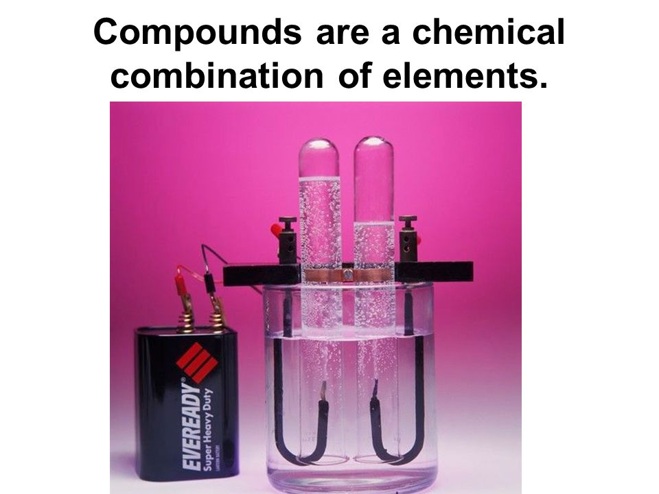 Compounds are a chemical combination of elements.