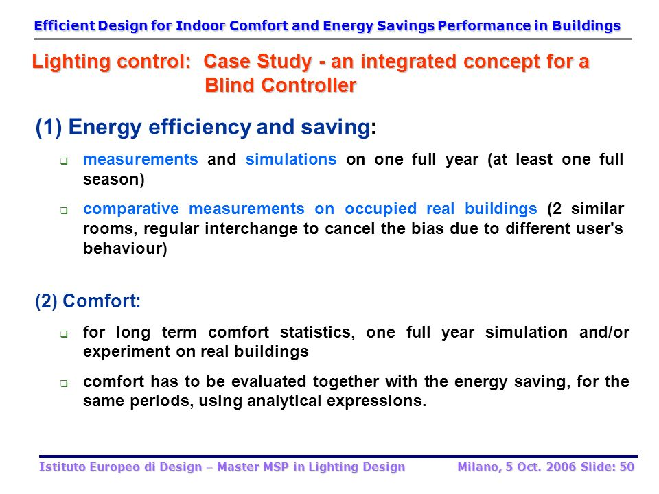 (1) Energy efficiency and saving: