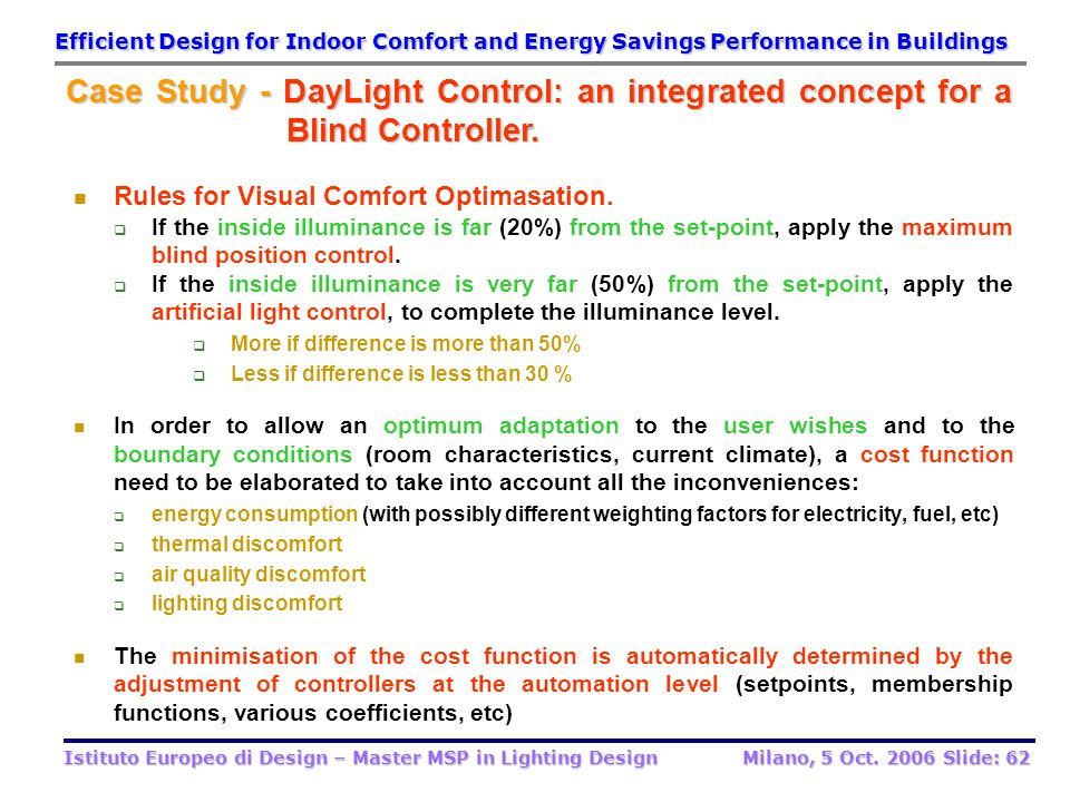 Efficient Design for Indoor Comfort and Energy Savings Performance in Buildings