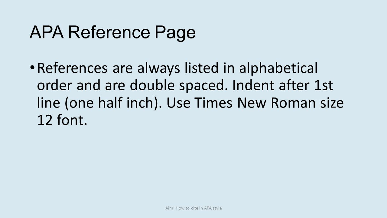 Aim: How To Cite In Apa Style