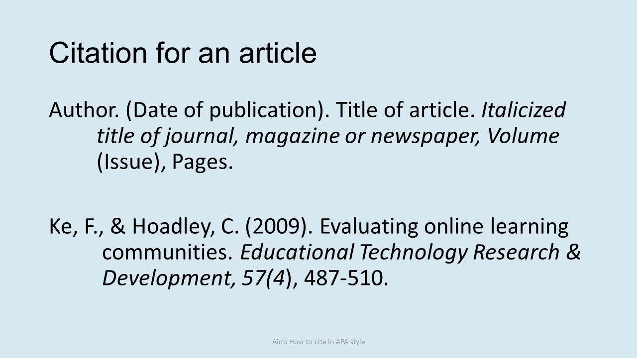 apa format online articles Apa citation online newspaper & magazine articles publication manual of the american psychological association, 6th ed p 212, 709 online newspaper article.