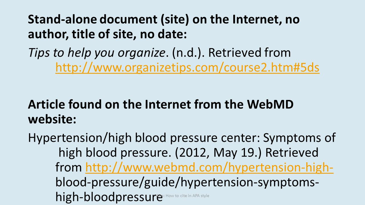 how to cite a website with no author or date Note: if there is no author and no date, the website is likely unreliable and inaccurate search the library to find a better source for more help citing websites, see this chart from the.