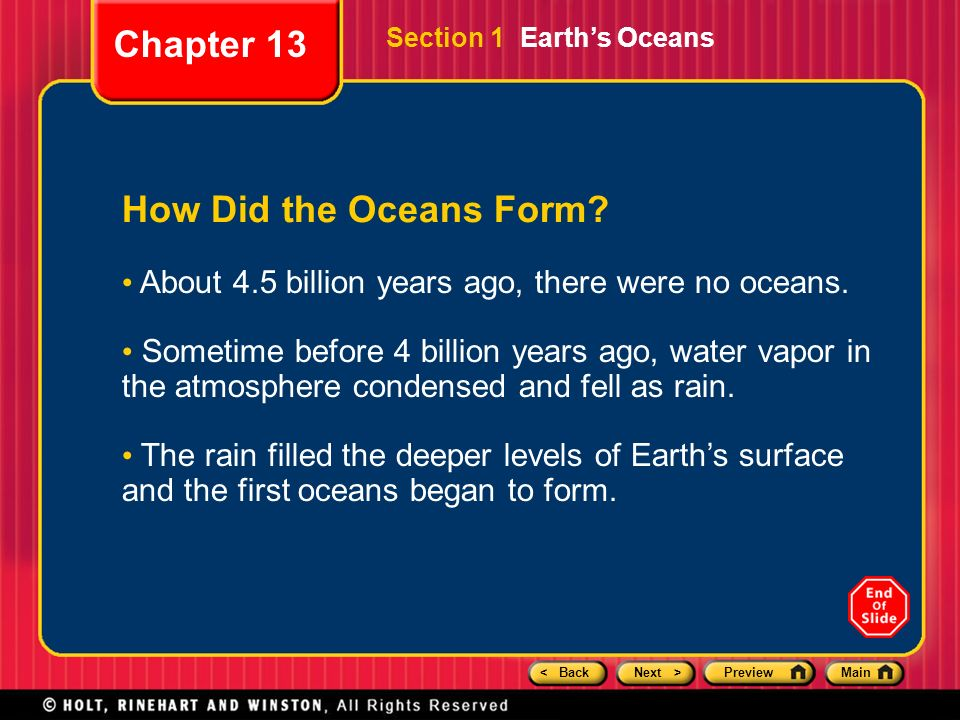 Chapter 13 Preview Section 1 Earth's Oceans Section 2 The Ocean ...