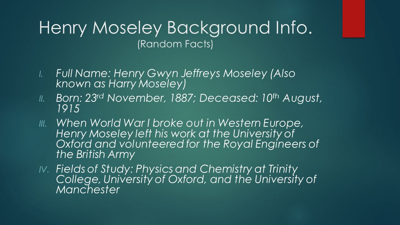 henry moseley contribution and achievements