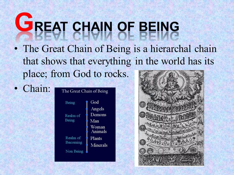 the great chain of being It all has to do with an old belief called the great chain of being while it had its  origins as early as aristotle's scala naturae, it reached its.