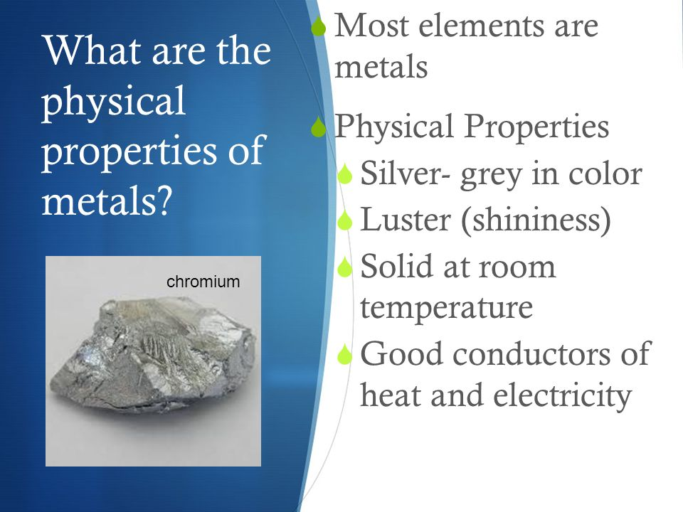 Periodic Table physical properties of elements on the periodic table luster : Metal, Nonmetals and Metalloids - ppt video online download