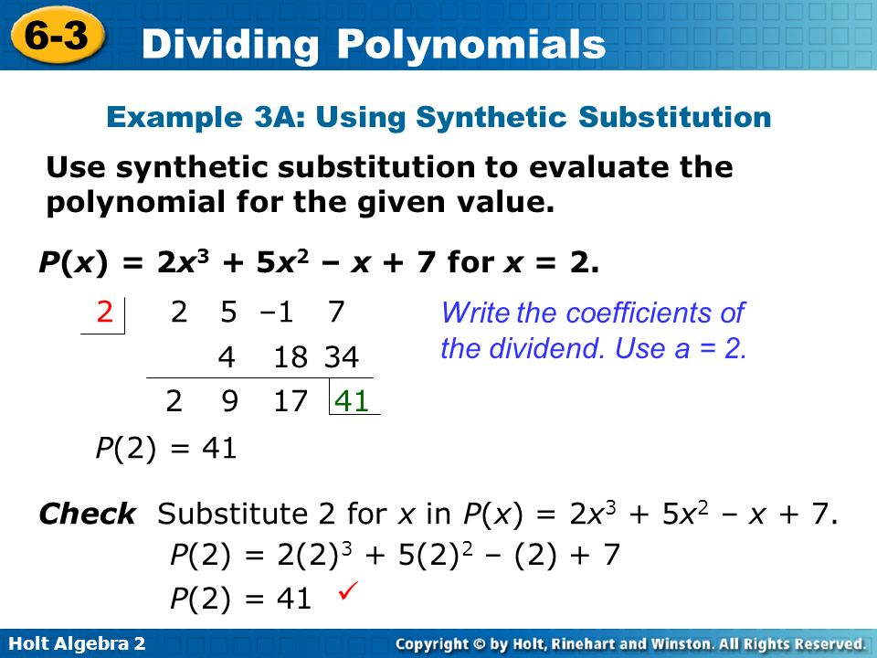 Objective Use long division and synthetic division to divide ...