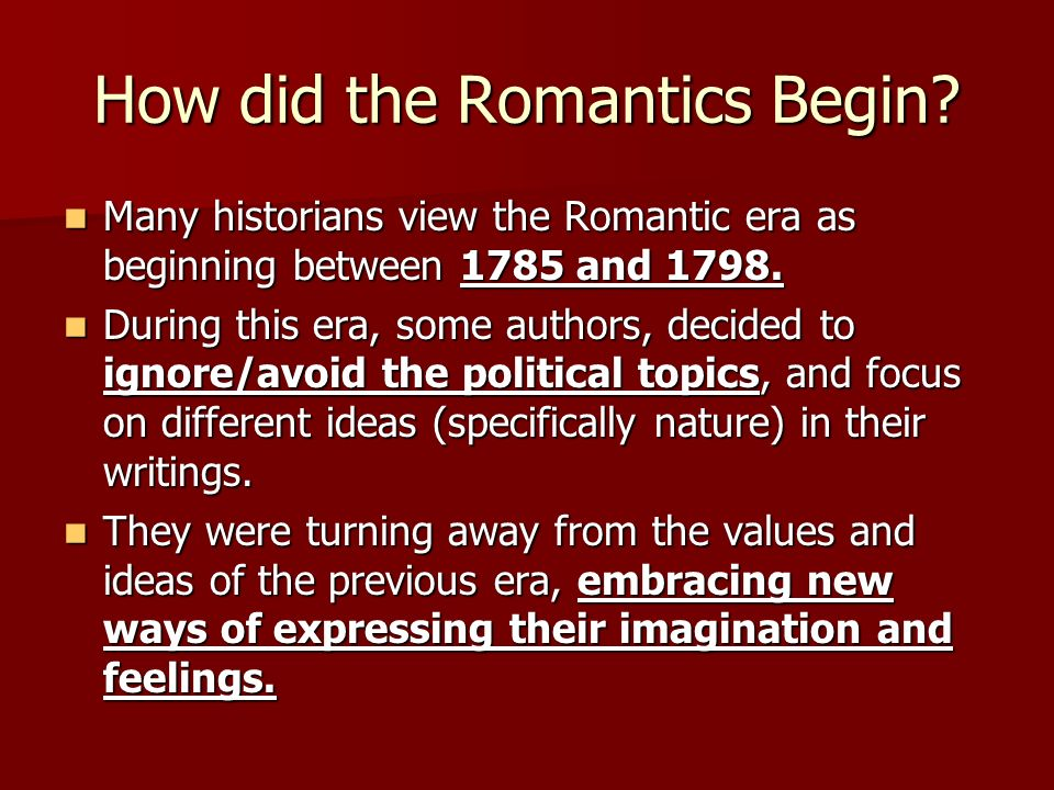 an analysis of elements of romanticism used by writers in the romantic period It arose as a reaction to the formal orthodoxy and neoclassicism of the preceding period  elements of romanticism major writers  elements in romanticism.