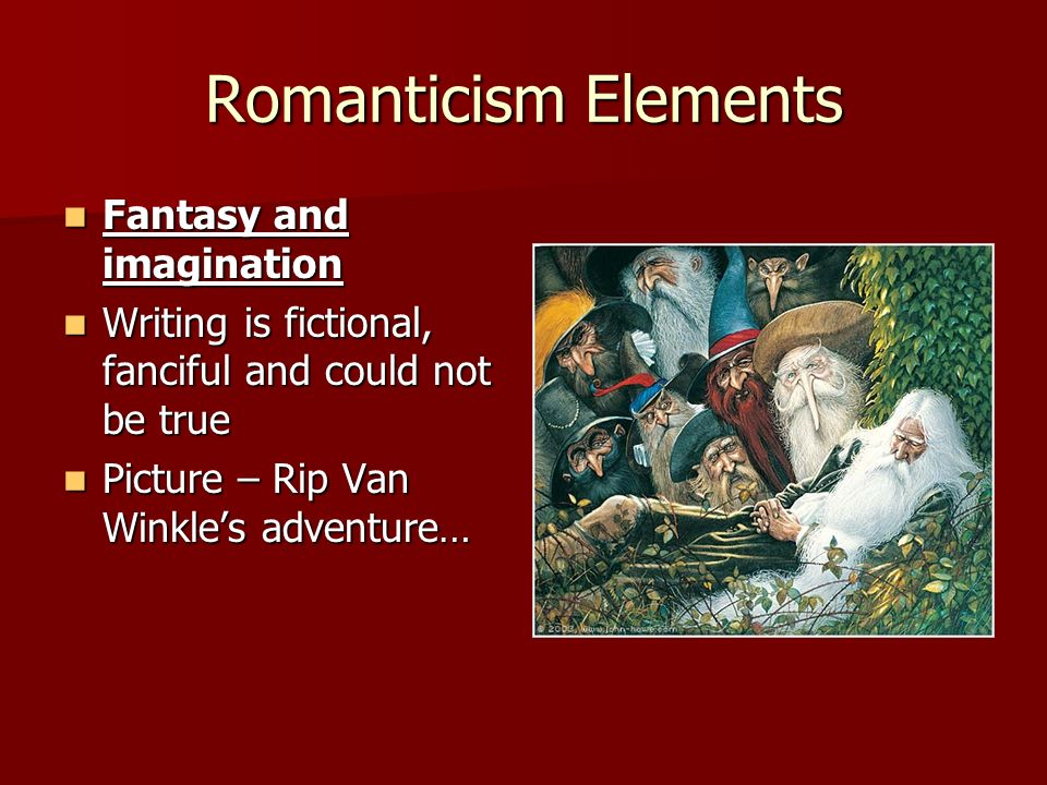 "five elements of romanticism in young goodman brown Young goodman brown historical context: the salem witch trials - the villagers of salem killed twenty- five innocent people who were accused of being witches the salem witch trials admitted ""spectral evidence"" –the."