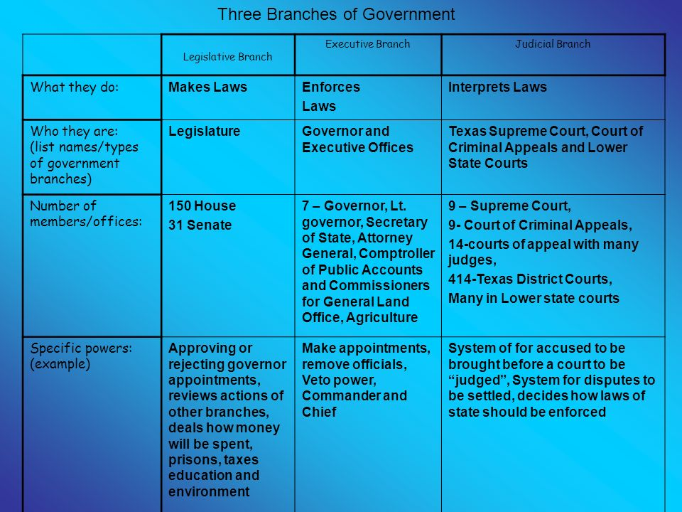 branches of texas government