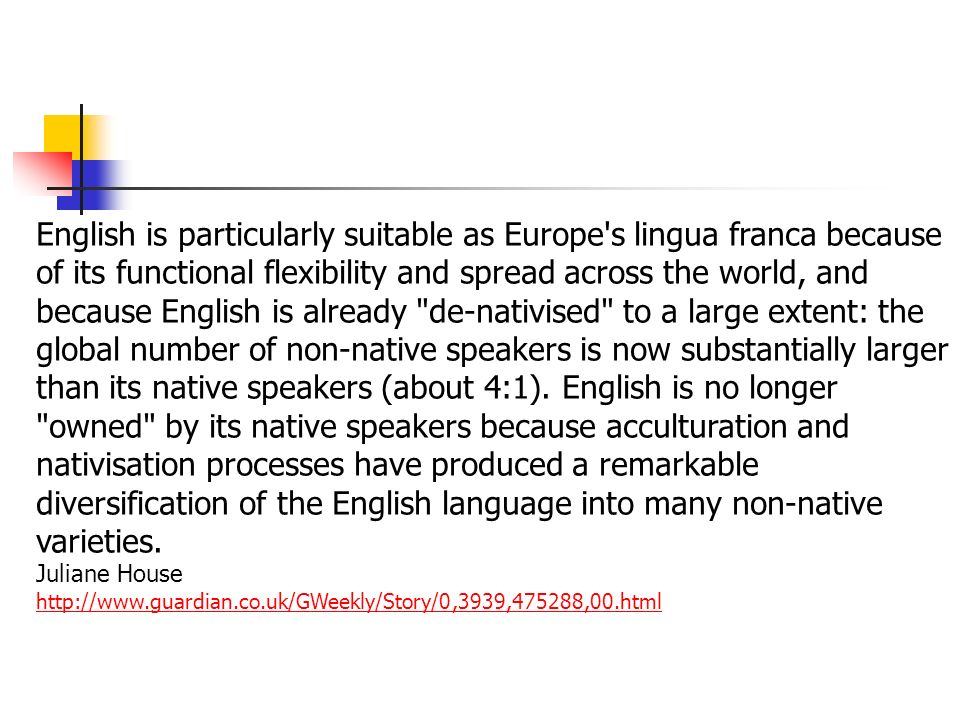 Multilingualism In Europe Versus English As Lingua Franca Ppt - No 1 language in world