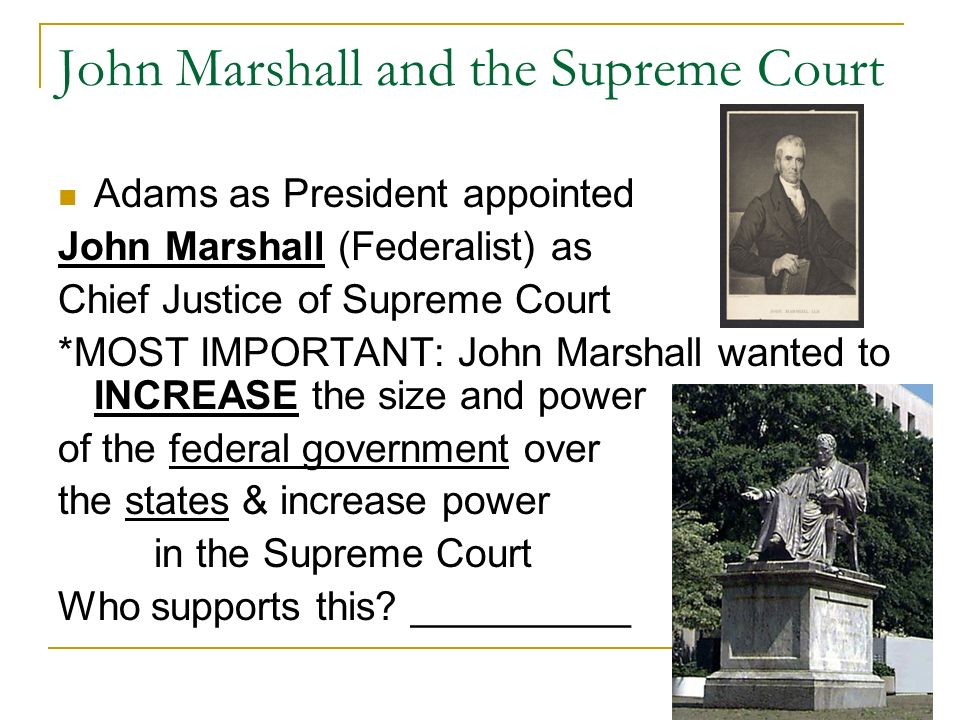 john marshall supreme court case essay Investigating the marbury vs madison case john marshall, the court refused and it have rule supreme the chief justice john marshall in this.