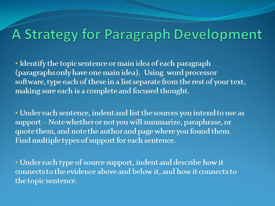 thesis of a paragraph