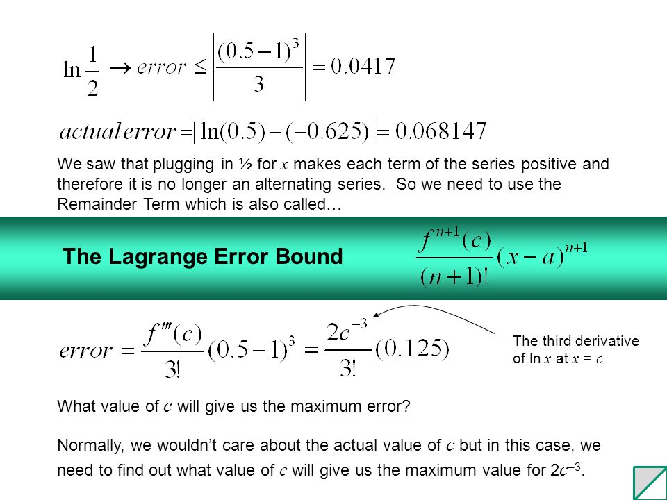 9.3 Taylor's Theorem: Error Analysis for Series - ppt video online ...