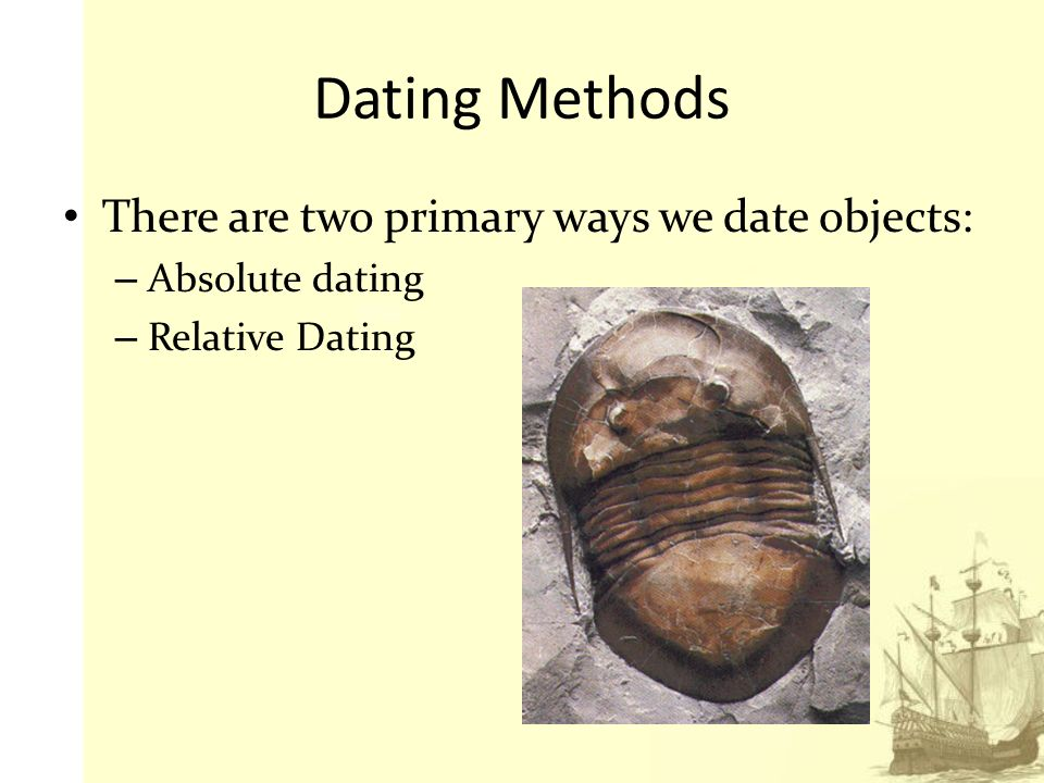 absolute dating methods archaeology Archaeologists use a combination of relative and absolute dating methods to  help them interpret the past the past often gets divided into big.