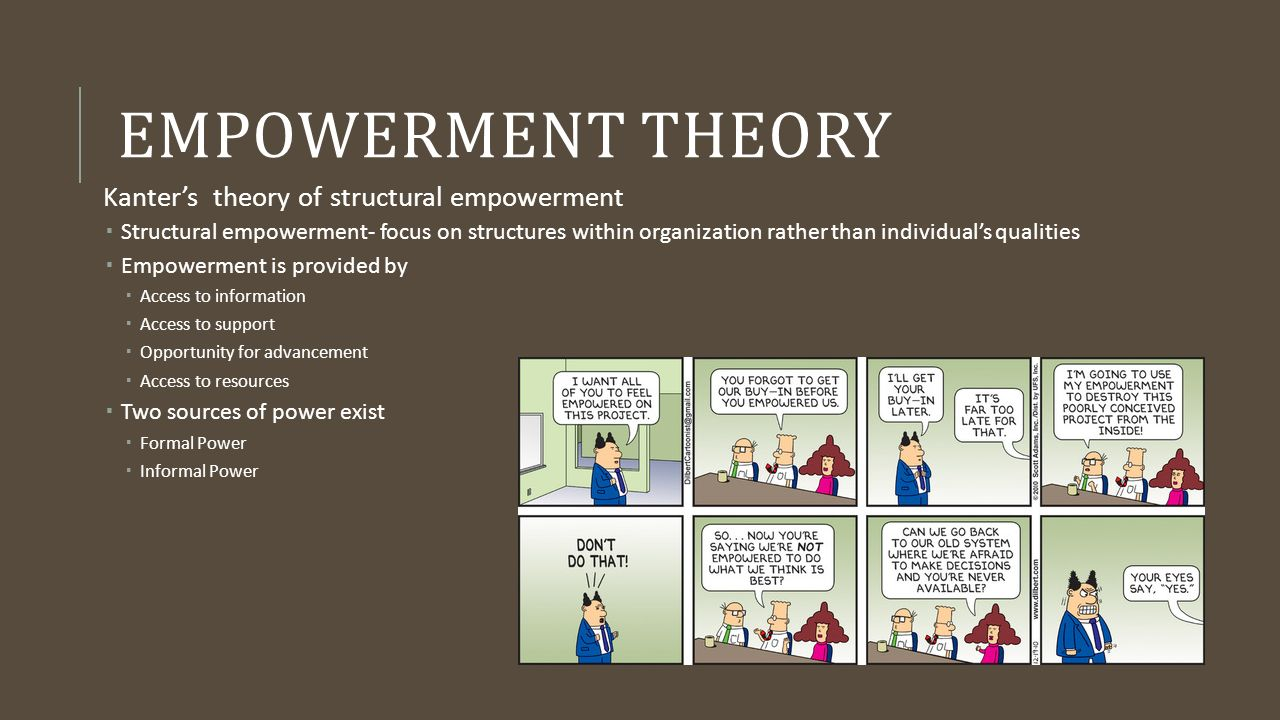empowerment theory Researchers make use of empowerment theory to explore relationships between  individuals within specific social, organizational, educational,.