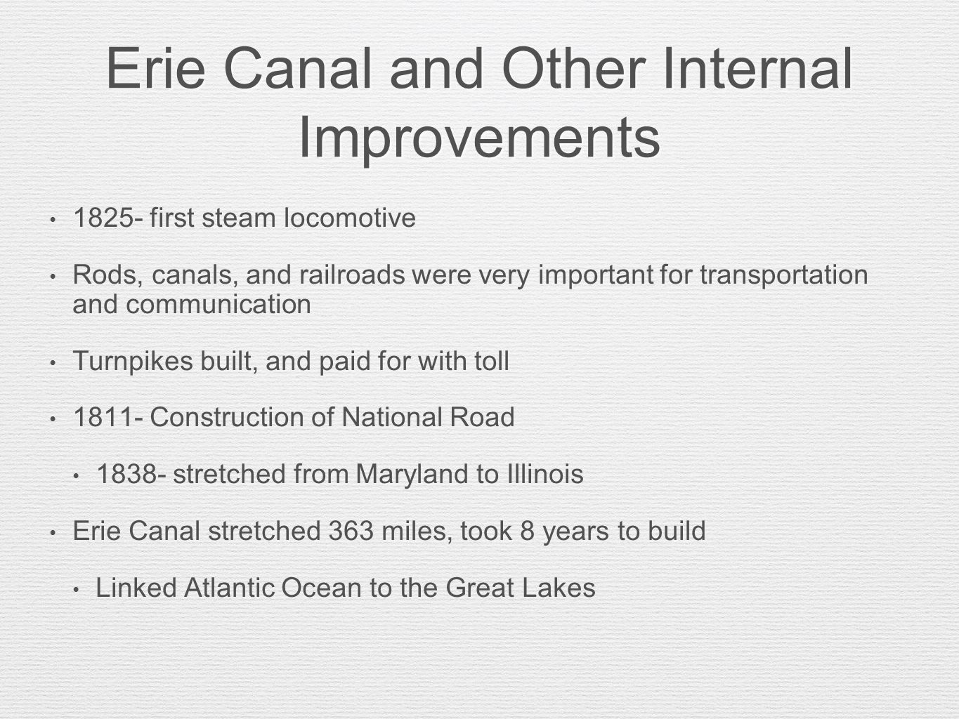 Erie Canal and Other Internal Improvements