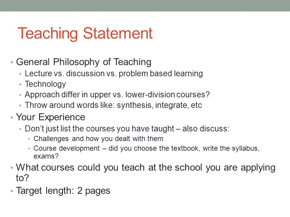 Teaching Statements