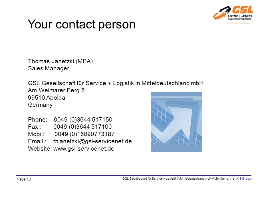 Your contact person Thomas Janetzki (MBA) Sales Manager